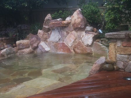 waterfall deck pond
